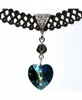 Twilight's Fancy 14mm Swarovski Crystal Heart Pendant Choker Necklace - Bermuda Blue - CT11TLHWPN5