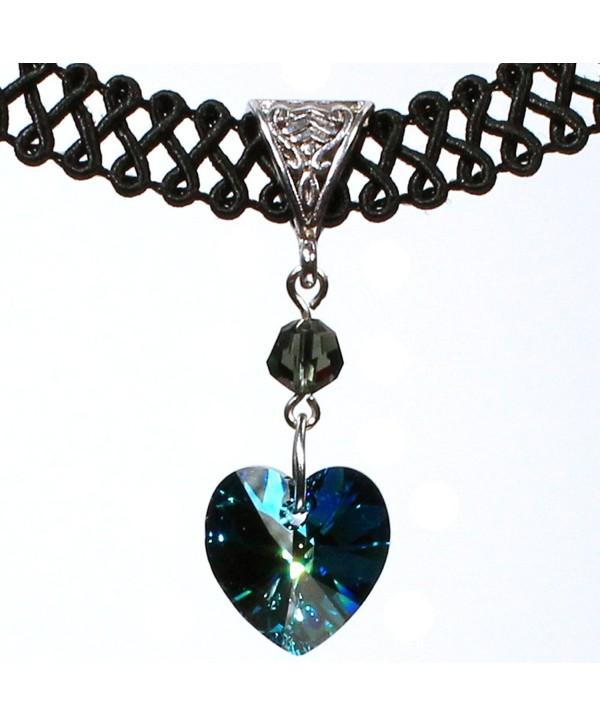 Twilight's Fancy 14mm Swarovski Crystal Heart Pendant Choker Necklace - Bermuda Blue - CT11TLHWPN5