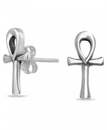 Bling Jewelry Ankh Cross Stud earrings 925 Sterling Silver 13mm - CK11BRAPFSP