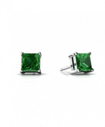 Solitaire Stud Post Earring Princess Cut Square Simulated Green Emerald 925 Sterling Silver - CR12MAY3P8F