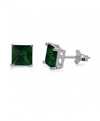 Solitaire Earring Princess Simulated Sterling