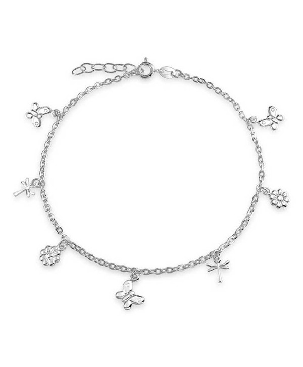 Bling Jewelry Butterfly Sterling Silver Flower Dragonfly Charm Anklet 9in - CU11F8WGG5F