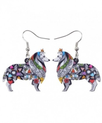BONSNY Dog Collection Border ROUGH COLLIE Statement Acrylic Pop-Art Long Drop Dangle Women Earrings - Grey - CE12OCJTIQJ