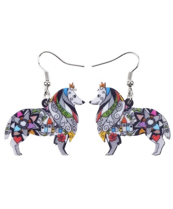 BONSNY Dog Collection Border ROUGH COLLIE Statement Acrylic Pop-Art Long Drop Dangle Women Earrings - Grey - CE12OCJTIQJ
