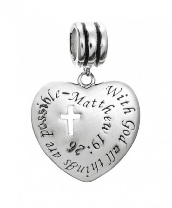 Sterling Silver Christian Cross With God All Things Are Possible European Style Dangle Bead Charm - C8127AL42VP
