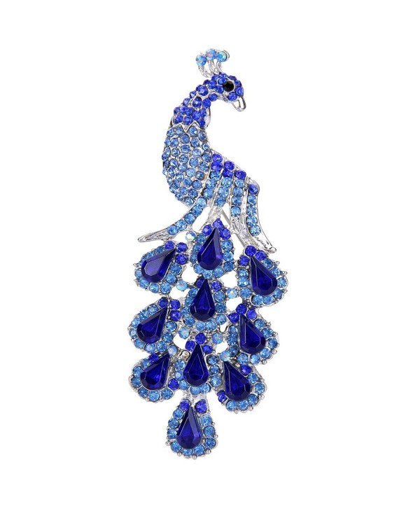 EVER FAITH Rebirth Peacock Teardrop Silver-Tone Brooch Pendant Blue Austrian Crystal - CY11EZSHG11