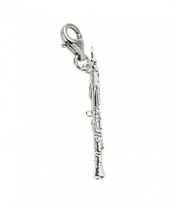 Oboe Charm With Lobster Claw Clasp- Charms for Bracelets and Necklaces - C4186H5XR82