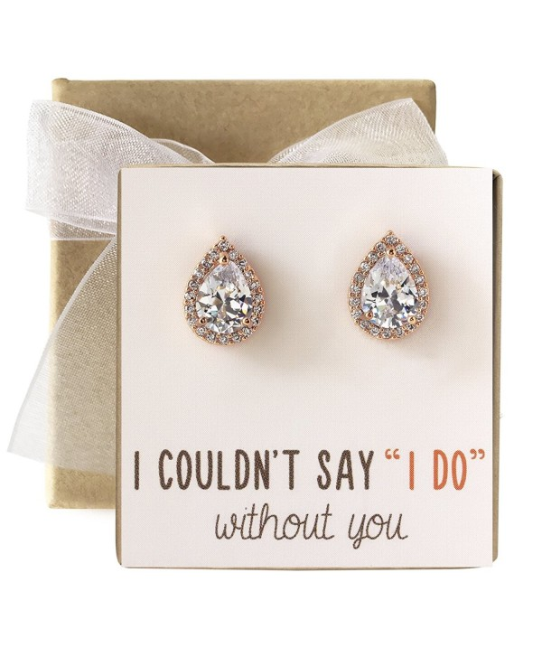 Cubic Zirconia Bridesmaid Stud Earrings- Bridal Party Gift - Rose Gold- Post Earrings - CQ182HQ86I7
