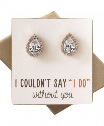 Cubic Zirconia Bridesmaid Earrings Bridal in Women's Stud Earrings