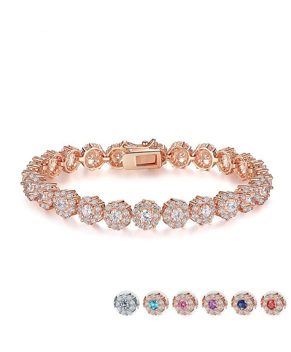 Zirconia Bracelets Diamond Jewelry Christmas - Rose Gold - CS186XQRLN9