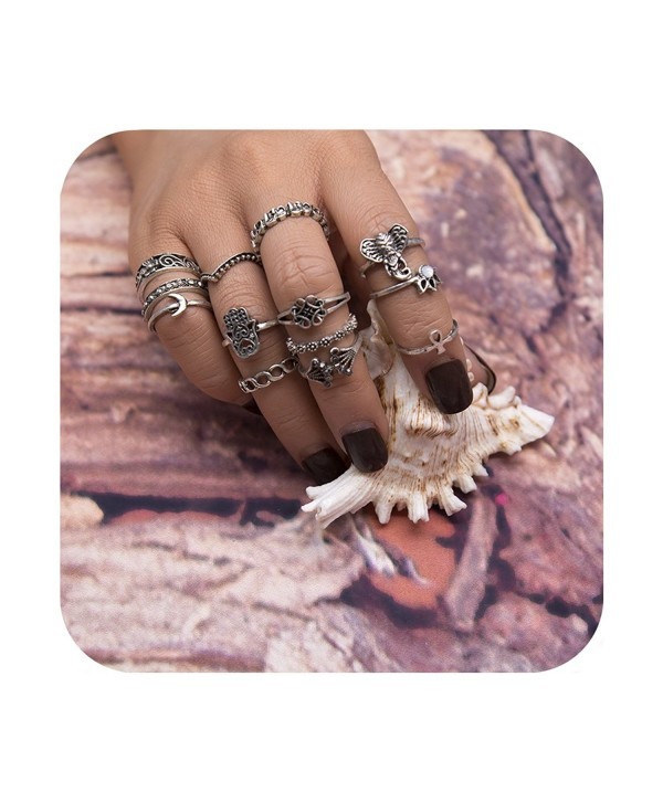 Geerier Vintage Knuckle Ring Set Boho Arrow Moon Midi Finger Statement Ring Set - Ring 3 - C81853ITCI9