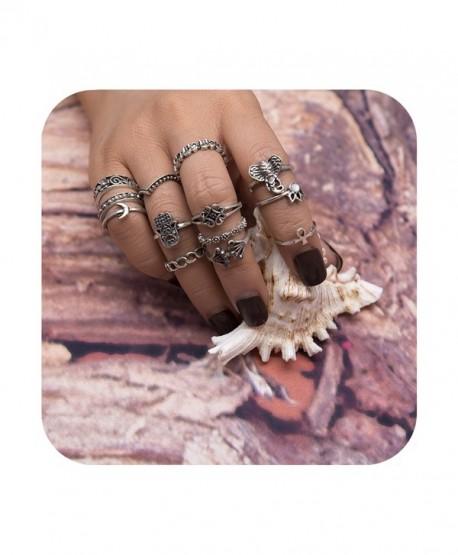 Geerier Vintage Knuckle Ring Set Boho Arrow Moon Midi Finger Statement Ring Set - Ring 3 - C81853ITCI9