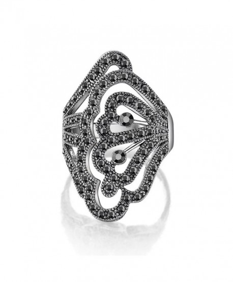 Dnswez Vintage Black Marcasites Butterfly Filigree Chunky Statement Rings for Women - CT12D53HEP9