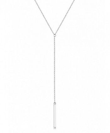 Sterling Silver Lariat Necklace- Chic Minimalist Drop Bar Y Chain Necklace for Women - C91844636XW