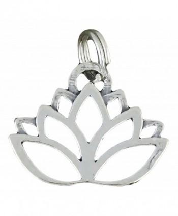 Corinna-Maria 925 Sterling Silver Lotus Flower Charm Yoga - C7117MS7BYD