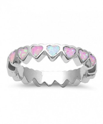 Lab Created Pink Opal Heart Band .925 Sterling Silver Ring Sizes 4-10 - CR12J5B1U7D