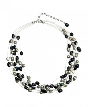 Regalia Multi Strand Baroque Multi-Black Freshwater Cultured Pearl Floating Necklace - C9183Q6WOT3