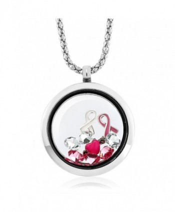 Breast Cancer Awareness Floating Ribbon Multi-Colored Crystals Locket Pendant Necklace with 24 Inch Chain - CZ11PK98C7L