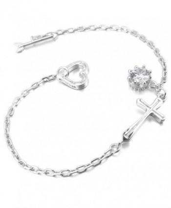 INBLUE Women's 925 Sterling Silver Bracelet Link Wrist CZ Silver Tone Cross Heart Arrow - CF12MYHC35O