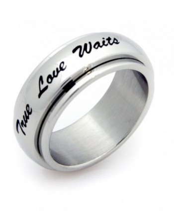 True Love Waits Spinner Ring Stainless Steel Ring Couples Jewelry Wedding Band - CT115MDWQL3