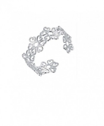 Silver Plated Hollow Filigree Heart Flower Bangle Bracelet - Mother's Day Sale - CB182OCAH27