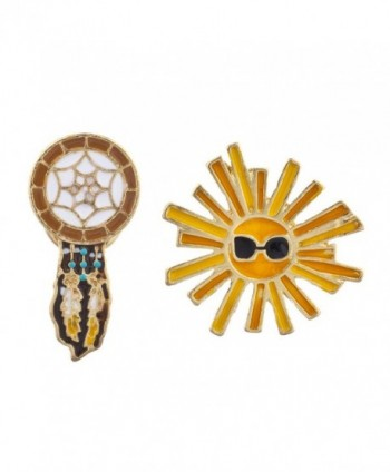 Lux Accessories Boho Dreamcatcher Sunshine Enamel Pin Brooch Set (2pc) - CD12LV4JBFP