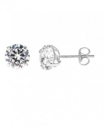 14k Solid White Gold 8mm Cubic Zirconia Stud Earrings 4ct Basket Setting - CQ119CUPPIX