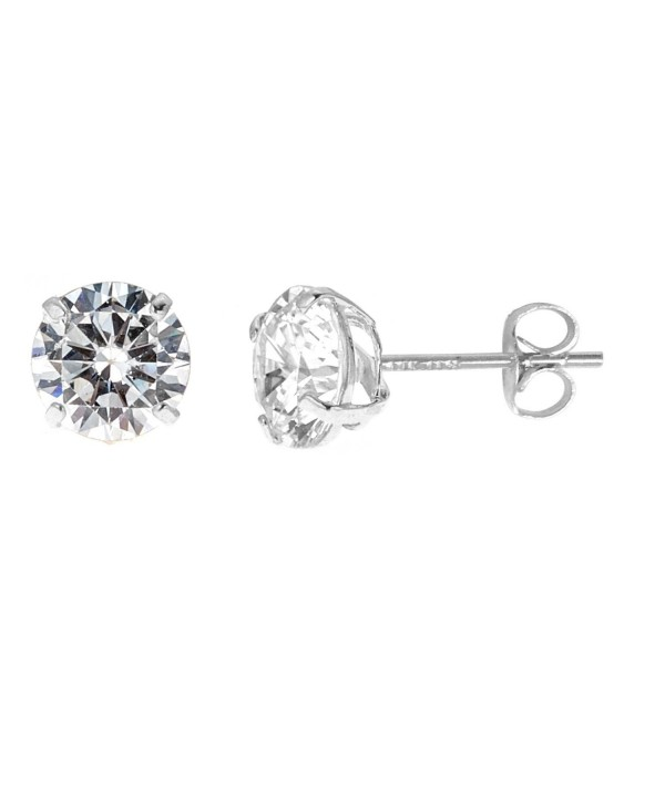 14k Solid White Gold 8mm Cubic Zirconia Stud Earrings 4ct Basket Setting Cq119cuppix