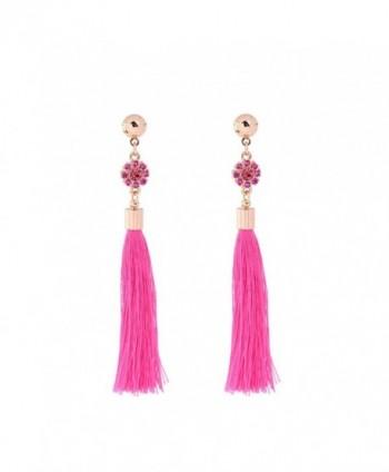 Tassel Long Earrings Drop Dangling Earrings Acrylic Beaded with Crystal Fashion Jewelry for Women - Rose red - CJ187HYTEMQ