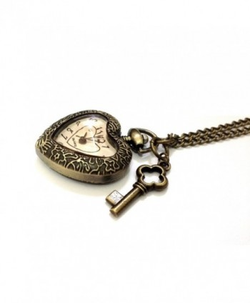 Key To My Heart Bronze Quartz Pendant Watch Necklace - Boxed & Gift Wrapped - CD11B159LIR