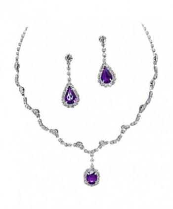 Elegant Purple Scallop Y Drop Crystal Rhinestone Bridesmaid Bridal Necklace Earring Set Wedding Bling P1 - C611OLVFCG3