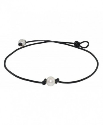"High Quality Freshwater Cultured 9.5-10.5mm Single Pearl Choker Necklace on Black Leather Cord- 17"" - C7124UHQF0J"