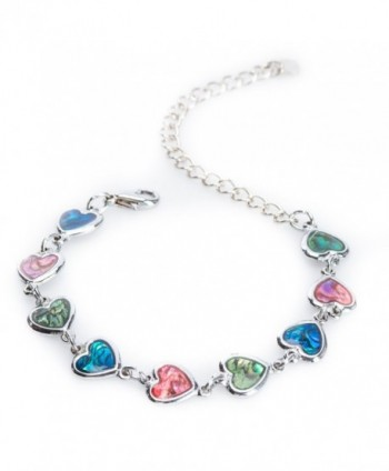 Silver-tone Paua Shell Heart Link Anklet by Jewely Nexus - CI11CUUGQAR