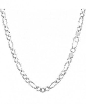 Sterling Silver Rhodium Plated Figaro Chain Necklace- 3.7mm - C91150Z8Q9J