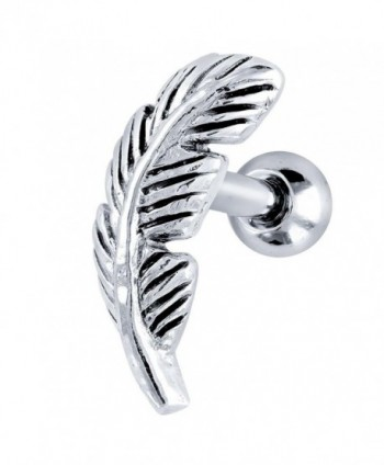 Right Ear Nature Leaf Stainless Steel and 925 Sterling Silver Cartilage Tragus Earring - CC114XMTVML