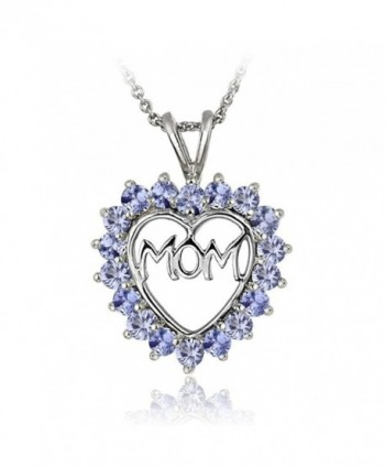 Sterling Silver Tanzanite MOM Heart Pendant Necklace - CT17YYL86KA