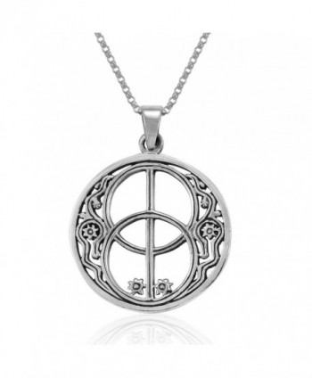 MIMI Sterling Silver Sacred Chalice Well Symbol of Avalon in Glastonbury Pendant Necklace- 18 inches - C91275VCO1L