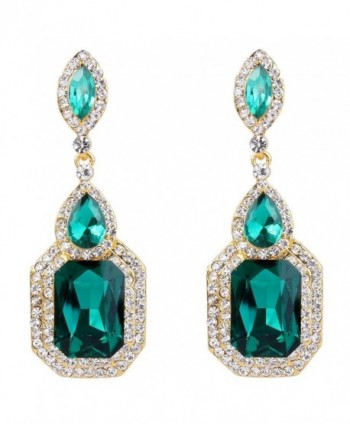 BriLove Infinity Chandelier Earrings Gold Tone - Style 1 - Emerald Color Gold-Tone - CT12OCD5V81