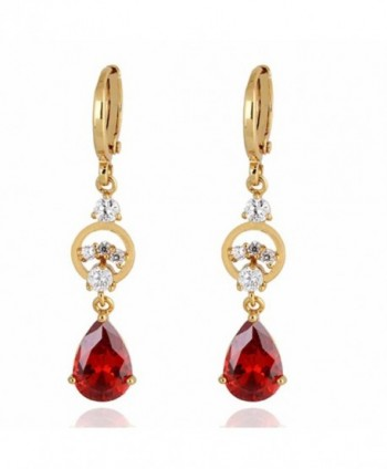 Yazilind Charming Smooth 18k Gold Plated Inlay Teardrop Cubic Zirconia Dangle Drop Earrings for Women - Red - CP11ME964CZ