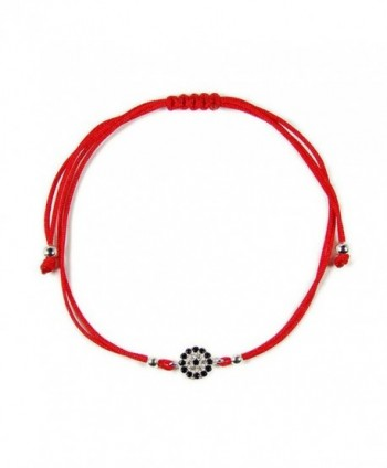 Evil Eye Bracelet Red Kabbalah String Bracelet with Sterling Silver Cubic Zirconia Evil Eye Charm - CY126Q85XMV
