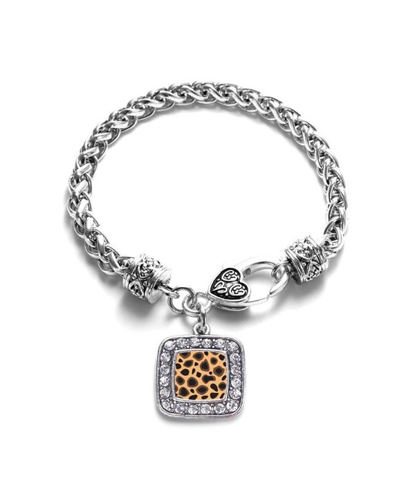 Leopard Print Animal Pattern Classic Silver Plated Square Crystal Charm Bracelet - CV11MV40FIR