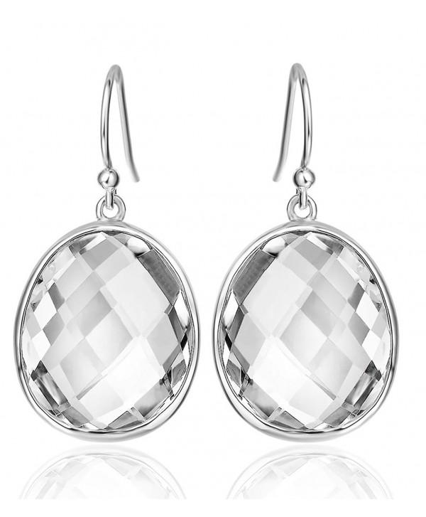 Sterling Gemstones Earrings Christmas Anniversary - T Natural White Quartz Dangle Earrings - CI12I25AZP5