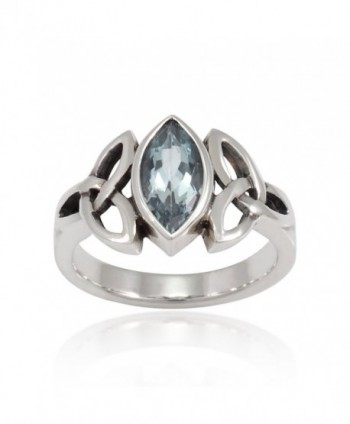925 Sterling Silver Triquetra Celtic Knot 12mm Genuine Blue Topaz Band Ring - Nickel Free - CV126GZ5OBT