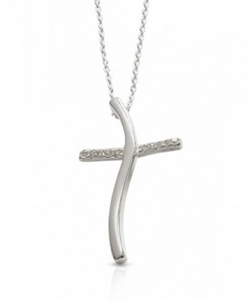 Christian Gifts - Confirmation Gifts - Sterling Silver & CZ Wavy Cross Pendant - CF1158DT3EZ