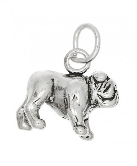 Sterling Silver Oxidized Three Dimensional Large Bulldog Charm - CR115WY5BEV