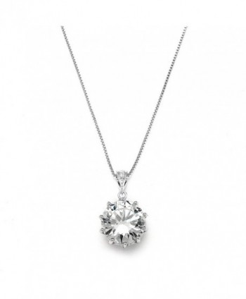 Mariell Dramatic 5 Ct. Round-Cut CZ Solitaire Pendant Necklace - Ideal for Brides or Bridesmaids Gift - CF122R4T6ML