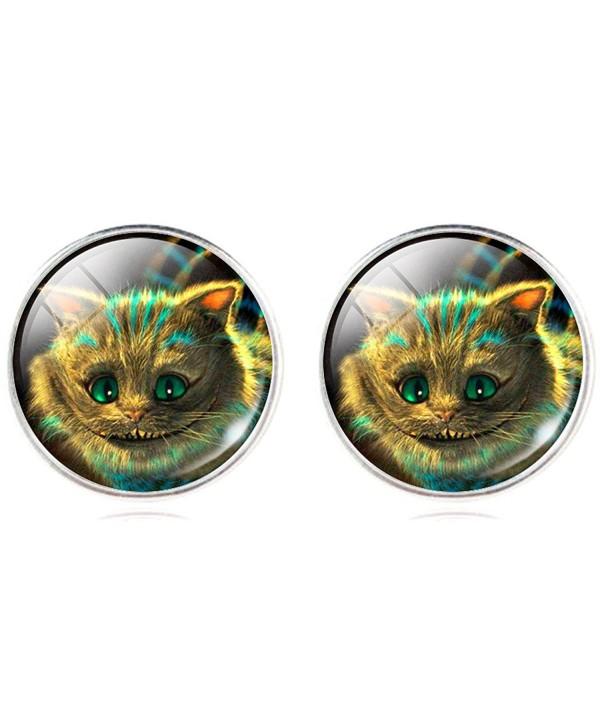 Jiayiqi Cute Simle Cat Time Gem Round Studs Earrings for Women Girls Gift Idea - NO.1 - C311ARNZIBR