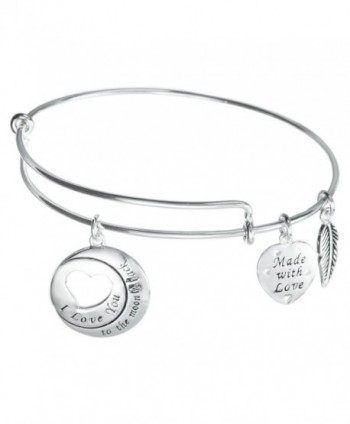 925 Sterling Silver I Love You To The Moon & Back Heart Wing Charm Adjustable Bangle - CE12FTZGOAV