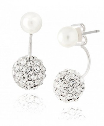 Front Back Earrings with Simulated Cream Pearl and Crystal Ball by Lovey Lovey - CM11XRYS3HP