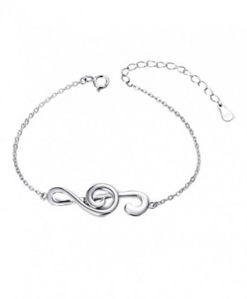 "(Musical Note Adjustable Bangle Bracelet) 925 Sterling Silver Jewelry For Women- 7.5"" - CO17XQ4NLUO"